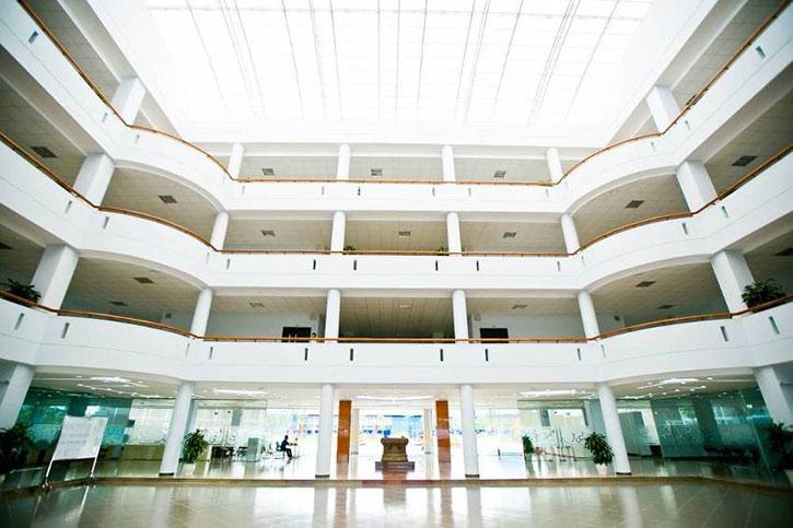 Khu vực giếng trời tận dụng tối đa nguồn ánh sáng tự nhiên, giống như một sân khấu mở - rạp hát trong nhà mà học sinh có thể theo dõi những sự kiện lớn từ trên ban công các tầng.