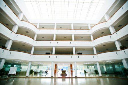 Khu vực giếng trời tận dụng tối đa nguồn ánh sáng tự nhiên, giống như một sân khấu mở – rạp hát trong nhà mà học sinh có thể theo dõi những sự kiện lớn từ trên ban công các tầng.
