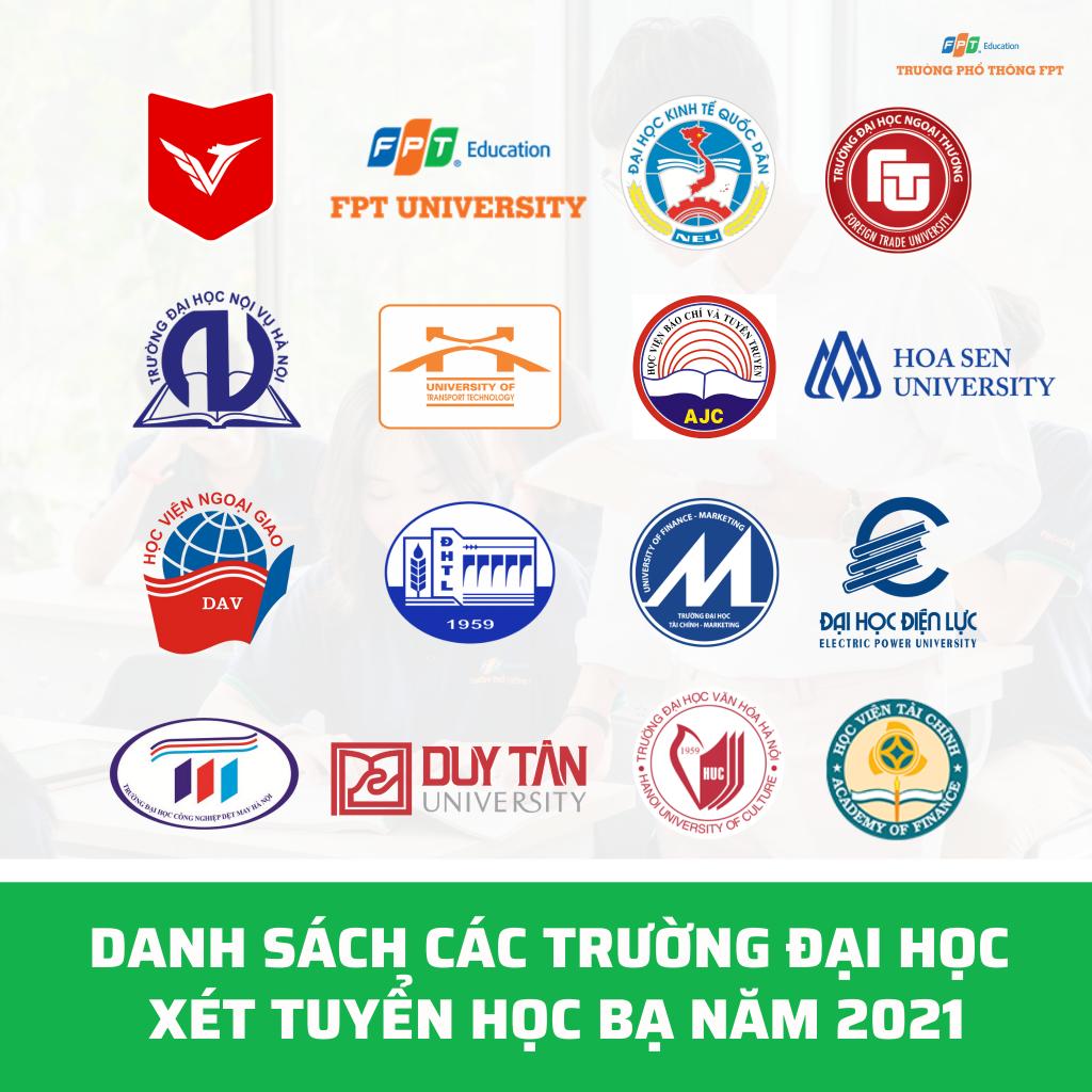 Danh sách các trường đại học xét tuyển học bạ năm 2021 (1)
